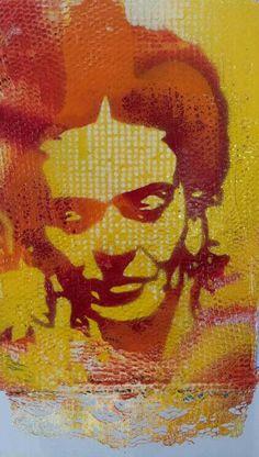 Yellow Frida - Alex Hamilton, Stencil Pop Artist Frida Kahlo Diego Rivera, Frida And Diego, Stencil Art, Stencils, Mexican Artists, Scrapbook, Mixed Media Art, Printmaking, Illustration