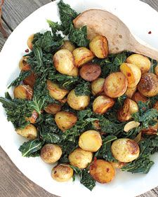 Skillet Potatoes and Greens..........I'd use turnips instead of Kale and brown my potatoes first.