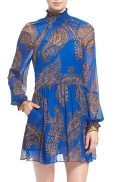 this airy chiffon minidress in a vibrant paisley print captures bohemian-luxe romance with its floaty silhouette