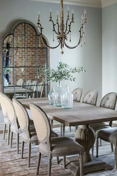 French Country Dining, Country Dining Rooms, Elegant Dining Room, Dining Room Design, Interior Design Living Room, Living Room Entertainment Center, Dining Room Inspiration, Refurbished Furniture, Dining Table Chairs