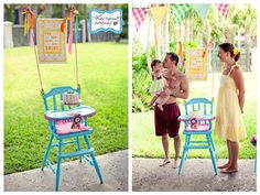 love this high chair and banner for a sweet birthday party