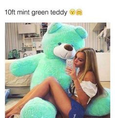 A 10 ft mint teddy bear! Huge Teddy Bears, Giant Teddy Bear, Mint Color, Mint Green, Ted Bear, Ft Tumblr, Cute Date Ideas, My Favorite Color, Girly Things