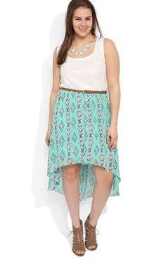 Deb Shops plus-tribal lace tank strap bodice belt aztec print chiffon high low