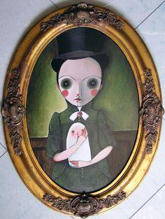 """SELENA LEARDINI  """"Resta con me"""" 2012 - acrilico su cartoncino 4mm e cornice Luigi XVI; 62 x 47 cm  https://www.facebook.com/selena.leardini"""