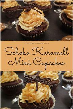 Mini Cupcakes - Einfaches deutsches Rezept für Schoko Karamell Cupcakes inkl. kreativer Idee zur Dekoration von Mini Cupcakes mit Schokolade
