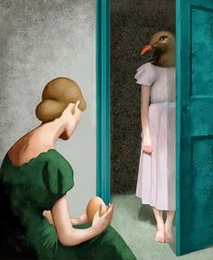 green - woman with egg and bird woman - painting - Daria Petrilli