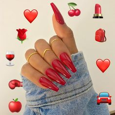 las uñas rojas siguen para más – – – … Best Picture For fake nails stiletto For Your Taste You are looking for something, and it is going to tell you exactly what you are looking for, and you didn't find that picture. Here you will find the most … Almond Acrylic Nails, Cute Acrylic Nails, Tumblr Acrylic Nails, Nagel Blog, Dream Nails, Nail Swag, Purple Nails, Yellow Nails, Cute Red Nails