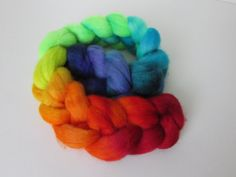 Rainbow Hand Painted Peruvian Highland Roving for Hand Spinning 100 grams