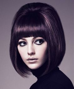 mod hair and bold bangs