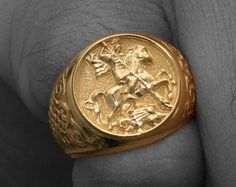 Gold Sovereign Ring, Gold Signet Ring, Sterling Silver 925, Signet Ring, Man Signet Ring, Saint George Ring, Medieval Ring, Dragon Ring