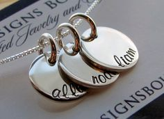 A personal favorite from my Etsy shop https://www.etsy.com/listing/237983286/personalized-jewelry-three-names