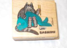 Rare Kliban cat rubber stamp Sashimi Sushi chopsticks and big fish mounted vtg #KodomoNoKao #KlibansCatsKlibancatsfelinesFood