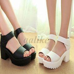 2a724dc3f28d  11.75 - Summer Women Sandals High Heel Platform Shoes Chunky Peep Toe  Gladiator  ebay
