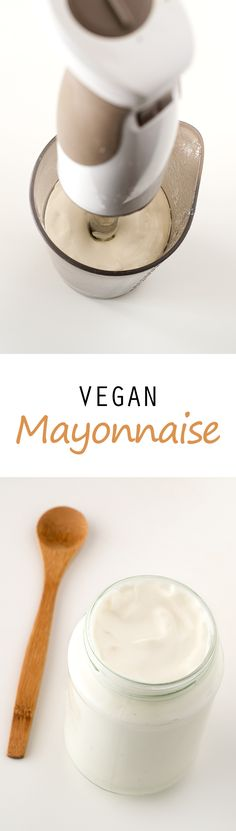 Vegan mayonnaise is healthier and also cholesterol-free. You only need 4 ingredients to make this vegan mayo and it's ready in just 2 minutes! Vegan Blog, Vegan Life, Raw Vegan, Vegan Sauces, Vegan Foods, Vegan Dishes, Raw Food Recipes, Vegetarian Recipes, Cooking Recipes