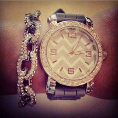 Chevron Sparkly Watch<3