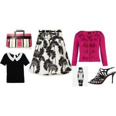 pink and black, created by gjanofski on Polyvore