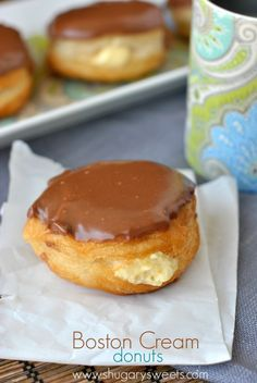 Boston Cream Donuts: easy, fast, delicious with Pillsbury Grands, pudding mix and chocolate ganache!