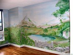 mural of the shire!!! aaaahhh I need this! I would paint it myself in our house in the US, but I can't.... I don't have the skill. or the supplies. :-(
