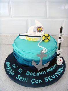 """""""Deniz & Tekne & Fenerbahçe"""" Temalı Butik Doğumgünü Pastası.! Sea & Boat Birthday Cake.!"""