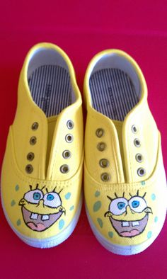 Sponge Bob handpainted shoes sz 11 by CedesSparkles on Etsy, $26.00 Painted by me