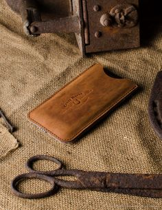 Leather iPhone Case with Card Pocket   Classic Orange