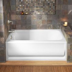 KOHLER Bancroft W x L White Acrylic Rectangular Left-Hand Drain Alcove Bathtub at Lowe's. Settle into a relaxing soak in classic style. Part of the Bancroft collection, this bath draws its design inspiration from the simple elegance of early Ibiza, Bathtub Alcove, Bathtub Tile, Kohler Bancroft, Bathtub Remodel, Shower Remodel, Complete Bathrooms, Tub Surround, Soaking Bathtubs