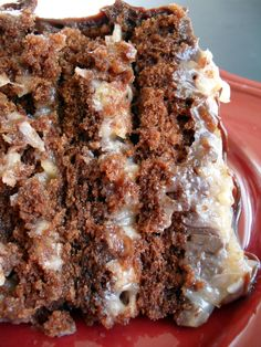 Try German Chocolate Cake! You'll just need For the cake:, 2 ounces bittersweet or semisweet chocolate chopped, 2 ounces unsweetened chocolate, chopped, Brownie Desserts, Just Desserts, Delicious Desserts, Yummy Food, Baking Recipes, Cake Recipes, Dessert Recipes, Yummy Treats, Sweet Treats