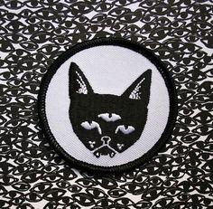THREE EYED CAT - patch on Etsy, $5.00