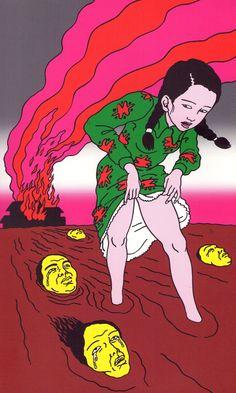 red-lipstick:  Toshio Saeki 佐伯俊男 (Japanese, b. 1945, Miyazaki prefecture, Japan) - Inkenka 20