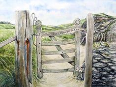 Llandwyn Island Gateway Watercolour and Pen Multimedia Arts, Watercolours, Gouache, Arch, Birds, Outdoor Structures, Island, Garden, Longbow