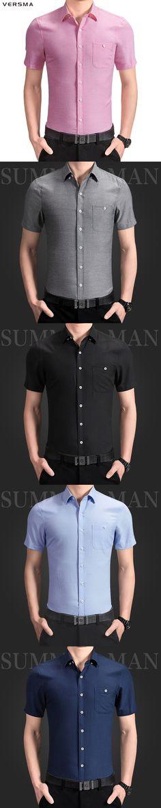 VERSMA 2017 Fashion Slim Fit Short Sleeve Mens Dress Shirts Camisa Social Masculina Male Casual Shirts Camisas Para Hombre 5XL