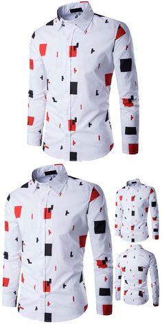 2721ccfd10a Brand 2017 Fashion Male Shirt Long-Sleeves Tops Printing Casual Shirt Mens  Dress Shirts Slim