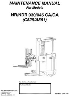 Original Illustrated Factory Workshop Service Manual for Yale Narrow Aisle Reach Truck Type C829.Original factory manuals for Yale Forklift Trucks, contains high quality images, circuit diagrams and instructions to help you to operate and repair your truck. All Manuals Printable and contains Searcha