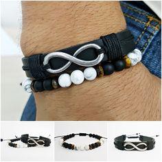Kit 2 Pulseiras Masculinas Couro Infinito Pedra Onix Howlita mens bracelets fashion style cocar brasil