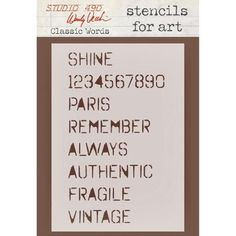 A personal favorite from my Etsy shop https://www.etsy.com/listing/254411679/studio-490-wendy-vecchi-classic-words