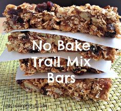 No Bake Trail Mix Bars. Healthy base to use for a granola bar recipe that you can create your own favorite from!
