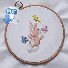 Easter cross stitch pattern, butterfly cross stitch pattern, rabbit pattern, animal cross stitch, baby cross stitch, easy cross stitch, pdf