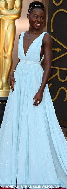 Best Dressed @ 2014 Oscars | Lupita Nyong'o in Prada light-blue pleated gown with a deep V-neck top paired with Fred Leighton jewels & gold hair band