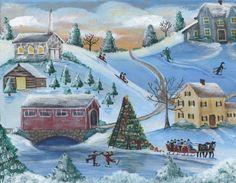 Old Town Christmas Tree Folk Art Painting