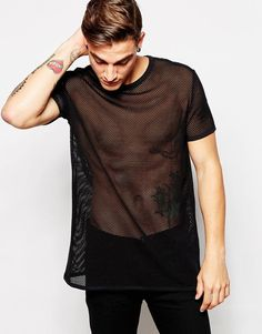 Image 1 ofASOS Longline T-Shirt With Mesh In Relaxed Skater Fit                                                                                                                                                                                 More