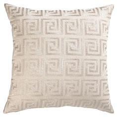 DL Rhein Greek Key Silver Embroidered Velvet Pillow