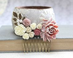 Rose Hair Comb Dusty Rose Pink Floral Hair Accessories Romantic Wedding Hair Comb Bridemaids Gifts Maid of Honor Rose Bridal Hair Piece