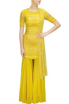 Astha Narang Mustard yellow and gold embroidered kurta set with gharara pants $506