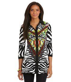Eva Varro Zimba Snap-Front Tunic   Dillard's Mobile