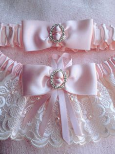 "The "" Christelle "" Pink Garter Set. Ships worldwide. Wedding Garters of distinction. https://www.etsy.com/listing/200557860/the-christelle-pink-garter-set?ref=shop_home_active_16  #Garnize"