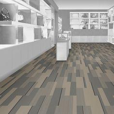 Interface carpet tile: PH210 Color: Pigeon Bands 104680 Installation method: Ashlar         Room scene: Shop