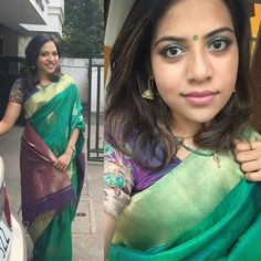 Though I've a fair number of sarees this one will always be special to me :) (but this post is mainly for the green eyeshadow)