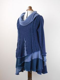 Tunic made from a wool sweater with pieces from a cotton sweater and an alpaca sweater.
