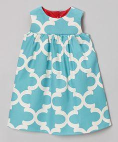 Loving this Sweet Petunia Turquoise Quatrefoil Josie Dress - Toddler & Girls on #zulily! #zulilyfinds
