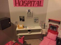 AG doll hospital from a tri-fold board I got at the dollar tree